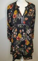 Umgee Small Women's Tunic Top Dress Black Floral Boho Retro Crochet