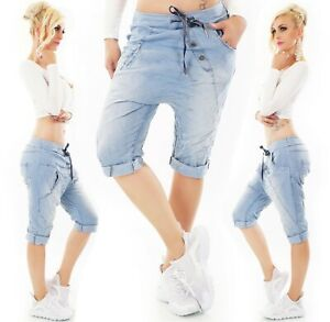 ITALY Capri Harem Hose Jeans Look JogPants Baggy Boyfriend blue washed 36-40