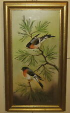 Vintage METTLACH Villeroy & Boch 'BIRDS on a PINE' Artist Signed PAINTED Plaque