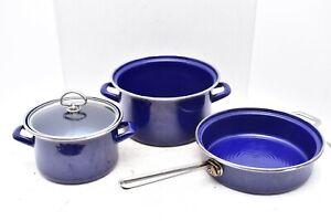 Vtg lot 4 pc set Chantal Cobalt Blue Saucepan Cookware Saute Skillet pot lidded
