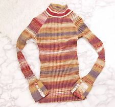 Native Outsiders mock neck sweater long sleeve ribbed knit 70s vtg inspired M