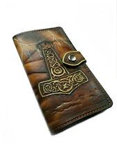 Leather Long Wallet, Hand-Carved, Airbrush Art, Viking, Thor Hammer, Mjölnir