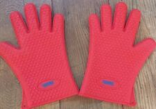 Red Heat Resistant Silicone Grill Gloves 6.3oz by Geaux Creole cooking