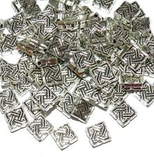 mb7164l2 antiqued silver 7mm square diamond with celtic knot metal beads 50 pkg