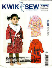 Kwik Sew Sewing Pattern K3509 3509 Toddlers Kids Sleepwear Dressing Gown Pyjamas