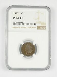 PF63 BN 1897 Indian Head Cent - Graded NGC *075