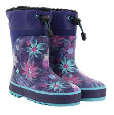 db1ca0075a53 Western Chief Girls  Neoprene Snow Rain Boot Purple W  Flowers 11 12