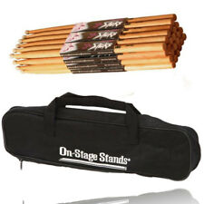 On Stage High Quality MW5B Drum Sticks with Wood Tip-12 Pair +2 Pocket Drum Bag