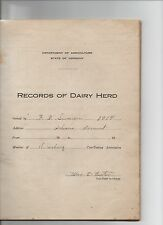 VERMONT AGRICULTURE DEPT ORLEANS COUNTY DAIRY COW HERD RECORD 1914 FARMING