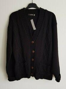 Women's Cardigan Black Chunky Knitwear Size M/L, I Love Pulse, Winter New & tags