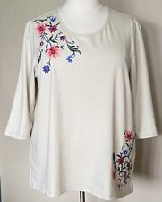 Denim & Co French Terry 3/4-Sleeve Top with Multi-Color Embroidery Beige Plus 2X