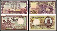 !COPY! BELGIUM CONGO 500 FRANCS 1959 & 1000 FRANCS 1944 BANKNOTES !NOT REAL!