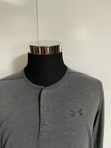 UNDER ARMOUR Mens HEAT GEAR Gray LOOSE Athletic Long Sleeve Large L LG Shirt