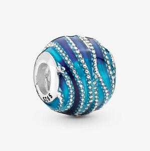 Blue Wave Ocean Charm Genuine 925 Sterling Silver 💞 Fits Moments Bracelets