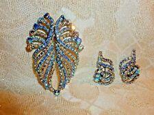Vintage Elegant Large Brooch And Clip On Earrings Beautiful Aurora Borealis
