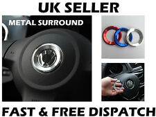 VW SILVER Steering Wheel Metal Badge Surround Ring Jetta Golf Transporter T5