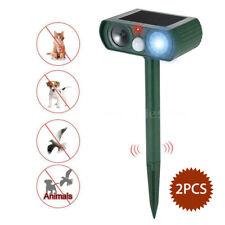 2Pcs Solar Ultrasonic Cat Bird Dog Pest Animal Repeller Deterrent Control Killer