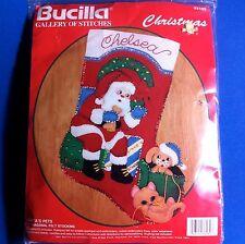 Bucilla Xmas Stocking Santas Pets 33189 Beads Sequins Embroidery Felt Dog Cat