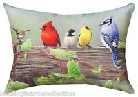 "PILLOWS - ""FEATHERED FRIENDS"" INDOOR OUTDOOR PILLOW - 18"" x 13"" - BIRD PILLOW"