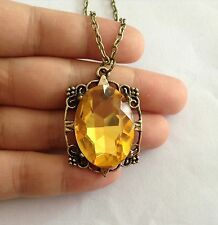 Nice The Vampire Diaries Bonnie's Necklace Yellow Crystal Pendant Necklace Free
