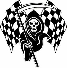 LARGE Racing Grim Reaper Skull Chequered Flags Car Van Truck Sticker #3c