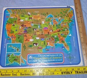 VINTAGE PICTURE MAP OF THE UNITED STATES OF AMERICA PUZZLE W/ NAME PUZZLER 1968