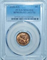 1930 S/S PCGS MS64RB Red Brown FS-501 Red RPM Repunched Mint Mark Lincoln Cent