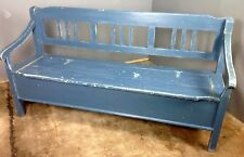 Antique Vintage French Painted Pine Settle Bench. Pew,