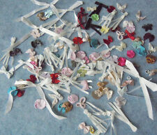 Lot of 200 Satin Ribbon Bow Applique with Pearl Bead For Scrapbooking Craft DIY