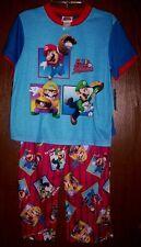 MARIO Luigi Wario Boy's 3 piece Pajamas size 10 NeW Shirt Pants Shorts Pjs Set