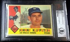 1960 TOPPS #191 JOHNNY KLIPPSTEIN BAS BECKETT SIGNED CARD AUTOGRAPHED AUTO !