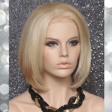 Human Hair blend Full Lace Front Wig Blonde mix Straight Bob Hair piece 613-27