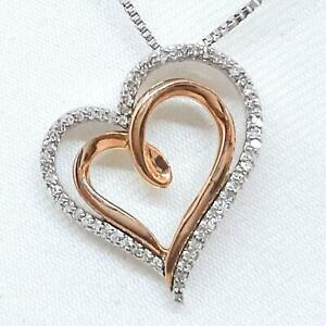 Genuine .34ctw H-SI Diamond Solid 10K Rose Gold 925 Silver Heart Necklace 3.3g