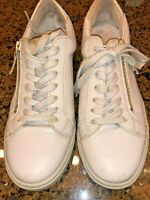 Steve Madden Womens Stealthh Gray Leather Size 6 Tennis Athletic Shoes