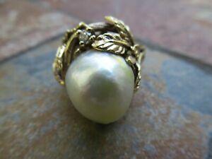 14K Yellow Gold & South Seas Pearl & Sm Diamond Ring, 13 gtw, S= 9.25