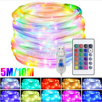 5m/10m LED USB String Fairy Lights Rope Strip Tube Strip Garden Outdoor Remote