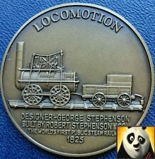 Railway History Bronze Medal Coin Locomotion Locomotive High Relief Details