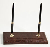 "DESK ACCESSORIES - ""GREENWICH"" BROWN ""CROCO"" LEATHER DOUBLE PEN STAND"