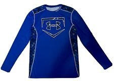 Under Armour Ua royal blue long sleeve baseball graphic fitted shirt mens M