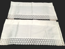 """Lot of 2 Curtain Valences White with Floral Lace Trim 54""""x13"""""""