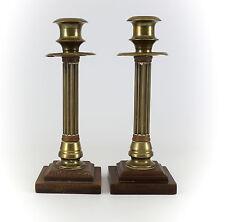 Pair of Continental Gilt Bronze Column Form Candle Sticks C1920