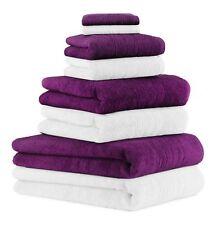 8-tlg. Badetuch Saunatuch-Set DELUXE Farbe: weiß & pflaume, 2 Badetücher, 2 Dusc