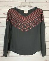 Stitch Fix Under Skies Women's S Small Gray Pink Boho Embroidery Cute Top Blouse