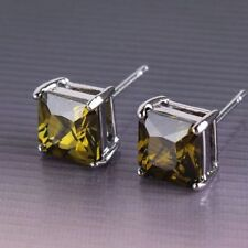 18ct white gold filled peridot stud earrings simulated diamond yellow Square