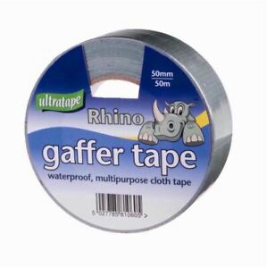 Ultratape RHINO Silver Gaffer Duct Waterproof Multi Purpose Cloth Tape 50mmx50m