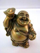 Glücks-Buddha Netsuke Bronze Messing Figur Figure Figurine 50er Jahre