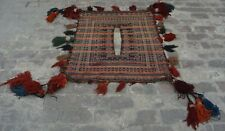 R151 Vintage Afghan Nomadic Sumak Camel Back Blanket/ Antique Kilim  3'2 x 3'9