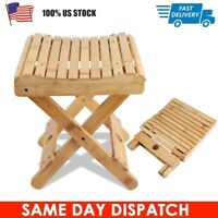 """12"""" Bamboo Folding Stool Portable Home  Wood Outdoor Fishing Chair Stool US"""