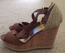 Brand New Lauren Ralph Lauren Polo Tan Women's Brown Wedge Sandal Shoes Size 9