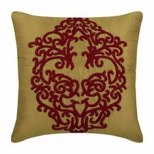 Decorative Pillow Cover 20x20 inch Red & Gold Art Silk, Baroque - Red Damascus